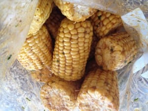 Sweet corn marinated in old bay