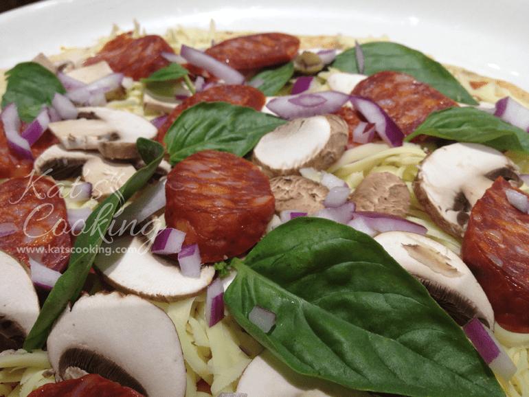 Chorizo Mushroom Basil Onion Pizza
