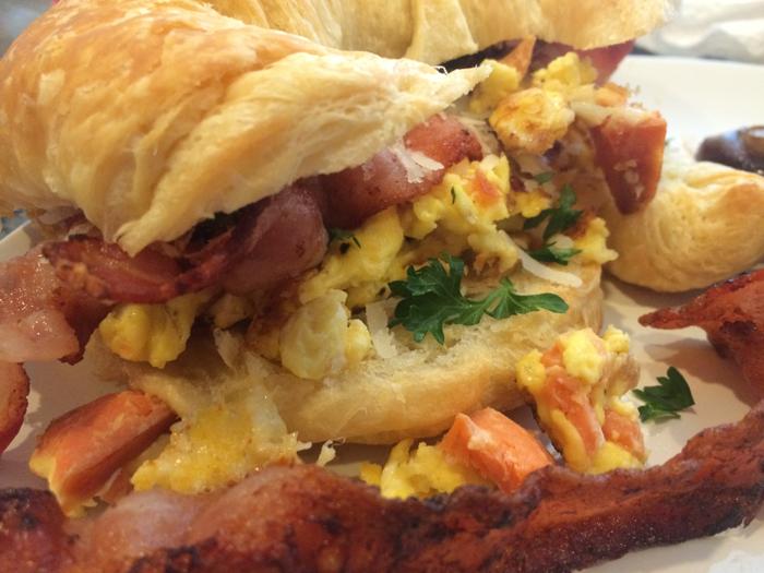 Salmon Omelette Croissant Breakfast Sandwich